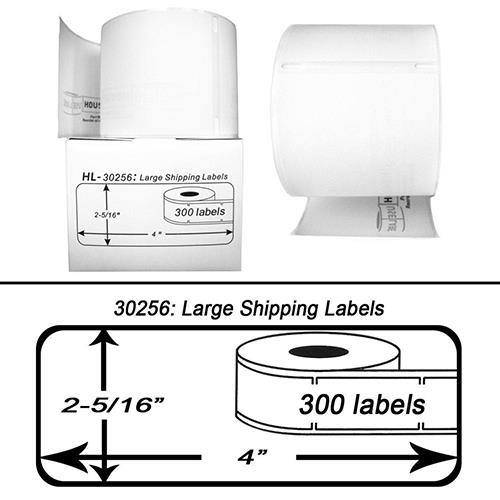 Premium Quality Black on White Large Shipping Labels compatible with Dymo 30256 (1000 pcs)